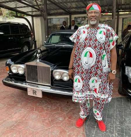 Dino Melaye Wears PDP Agbada As He Poses With His Fleet Of Cars (Photo) - Information Nigeria