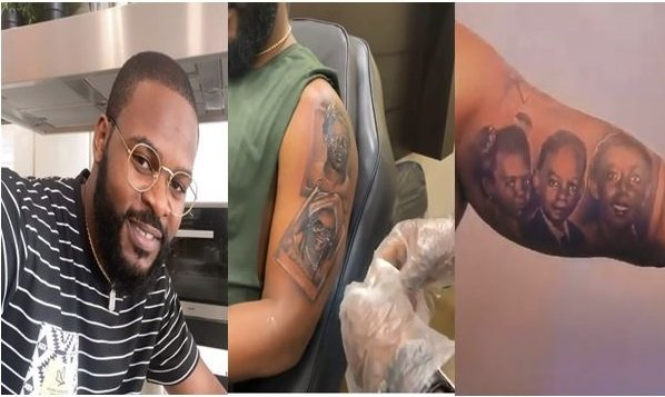 Rapper, Falz Tattoos Photos Of His Entire Family On His Arm (Video)