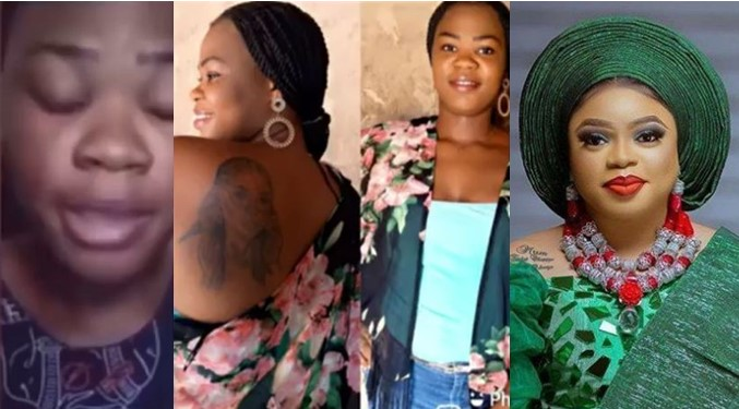 """""""I Feel Like Killing Myself"""" - Lady Who Tattooed Bobrisky On Her Body Now Homeless, Begs For Help (Video)"""