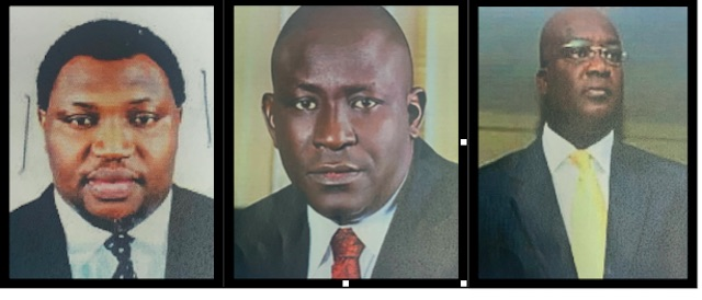 Kumo, middle, Tarry Rufus, left and Bola Ogunsola, right, wanted by ICPC