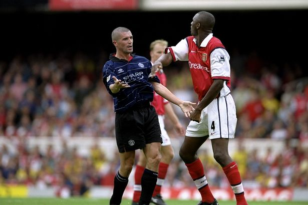 Roy Keane and Patrick Vieira often clash in matches between Manchester United and Arsenal Photo:Clive Brunskill /Allsport