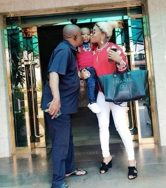 Actress Tonto Dikeh Dragged For Kissing Her Father, She Reacts