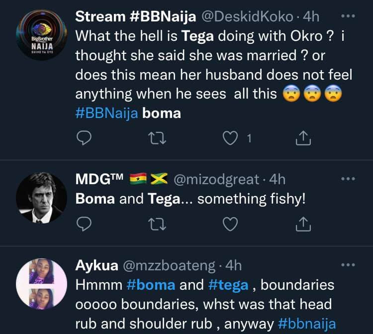 #BBNaija: Shameful for a married woman - Nigerians react to clip of Boma and Tega under the duvet during lights out (video)