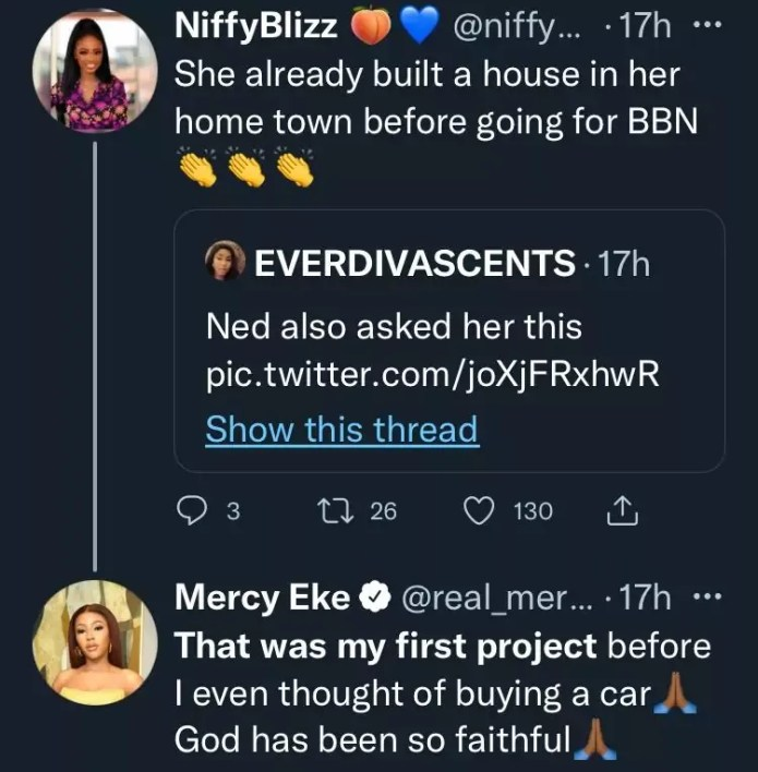 Nigerians Drags Mercy Eke Over Claims Of Owning 3 Cars, House Before BBN
